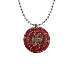 Oriental Floral Print Button Necklaces by dflcprints