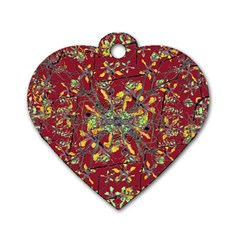 Oriental Floral Print Dog Tag Heart (one Side) by dflcprints