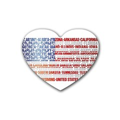 Usa States Flag Heart Coaster (4 Pack)  by theimagezone