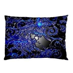 Blue Silver Swirls Pillow Cases by LokisStuffnMore