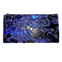 Blue Silver Swirls Pencil Cases by LokisStuffnMore