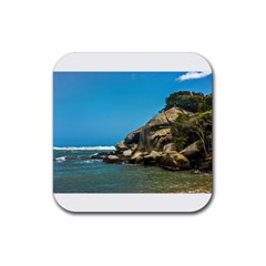 Tropical Beach Of Tayrona National Park Rubber Coaster (square)  by dflcprints
