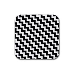 Black And White Zigzag Rubber Square Coaster (4 Pack)  by ElenaIndolfiStyle