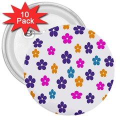 Candy Flowers 3  Buttons (10 Pack)  by designmenowwstyle