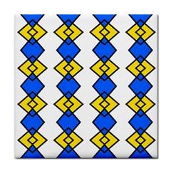 Blue yellow rhombus pattern Tile Coaster by LalyLauraFLM