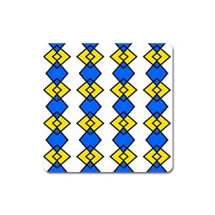 Blue Yellow Rhombus Pattern Magnet (square) by LalyLauraFLM