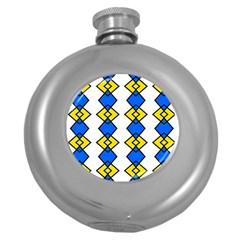 Blue yellow rhombus pattern Hip Flask (5 oz) by LalyLauraFLM