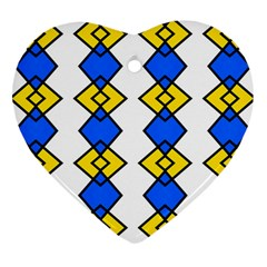 Blue yellow rhombus pattern Heart Ornament (Two Sides) by LalyLauraFLM