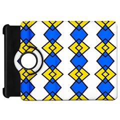 Blue Yellow Rhombus Pattern Kindle Fire Hd Flip 360 Case by LalyLauraFLM
