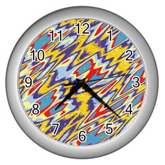 Colorful Chaos Wall Clock (silver) by LalyLauraFLM