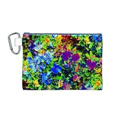 The Neon Garden Canvas Cosmetic Bag (M) by rokinronda