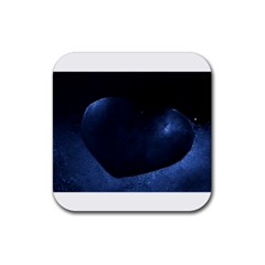 Blue Heart Collection Rubber Square Coaster (4 Pack)  by timelessartoncanvas