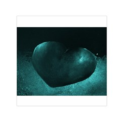 Teal Heart Small Satin Scarf (square)  by timelessartoncanvas