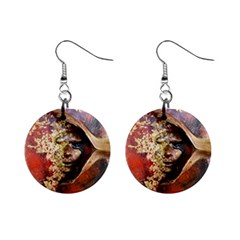 Red Mask Mini Button Earrings by timelessartoncanvas