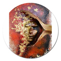Red Mask Magnet 5  (round) by timelessartoncanvas