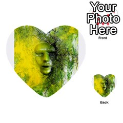 Green Mask Multi Purpose Cards (heart)  by timelessartoncanvas