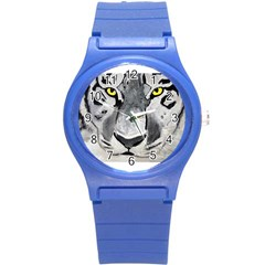 The Eye Of The Tiger Round Plastic Sport Watch (s) by timelessartoncanvas