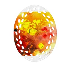 Fire, Lava Rock Ornament (Oval Filigree)