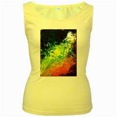 Abstract Landscape Women s Yellow Tank Tops by timelessartoncanvas