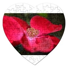 Bright Red Rose Jigsaw Puzzle (heart) by timelessartoncanvas