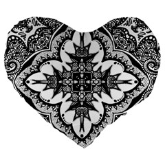 Doodlecross By Kirstenstar D70i5s5 Large 19  Premium Heart Shape Cushions by KirstenStar