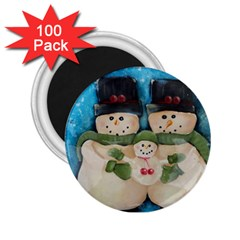 Snowman Family 2 25  Magnets (100 Pack)  by timelessartoncanvas