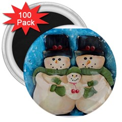 Snowman Family 3  Magnets (100 Pack) by timelessartoncanvas