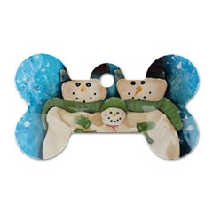 Snowman Family Dog Tag Bone (two Sides) by timelessartoncanvas