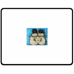 Snowman Family Double Sided Fleece Blanket (Medium)  by timelessartoncanvas