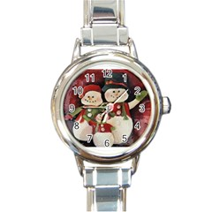 Snowman Family No. 2 Round Italian Charm Watches by timelessartoncanvas