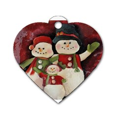 Snowman Family No  2 Dog Tag Heart (two Sides) by timelessartoncanvas