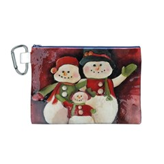 Snowman Family No. 2 Canvas Cosmetic Bag (M) by timelessartoncanvas