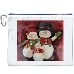 Snowman Family No  2 Canvas Cosmetic Bag (xxxl)  by timelessartoncanvas