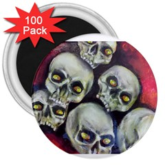 Halloween Skulls No 1 3  Magnets (100 Pack) by timelessartoncanvas
