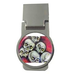 Halloween Skulls No 1 Money Clips (round)  by timelessartoncanvas