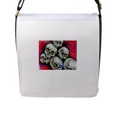 Halloween Skulls No 1 Flap Messenger Bag (l)  by timelessartoncanvas