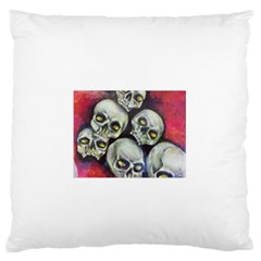 Halloween Skulls No 1 Large Flano Cushion Cases (one Side)  by timelessartoncanvas