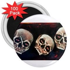 Halloween Skulls No  2 3  Magnets (100 Pack) by timelessartoncanvas