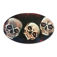 Halloween Skulls No  2 Oval Magnet by timelessartoncanvas