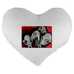 Halloween Skulls No  3 Large 19  Premium Flano Heart Shape Cushions by timelessartoncanvas