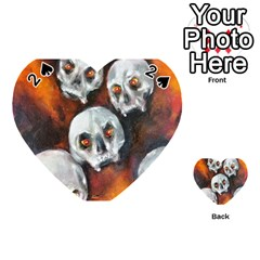 Halloween Skulls No  4 Playing Cards 54 (heart)  by timelessartoncanvas