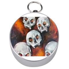 Halloween Skulls No  4 Silver Compasses by timelessartoncanvas