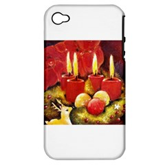 Holiday Candles  Apple Iphone 4/4s Hardshell Case (pc+silicone) by timelessartoncanvas