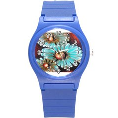 Fall Flowers No  2 Round Plastic Sport Watch (s) by timelessartoncanvas