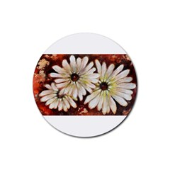 Fall Flowers No  3 Rubber Round Coaster (4 Pack)  by timelessartoncanvas