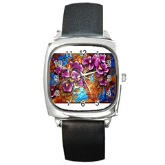Fall Flowers No  5 Square Metal Watches by timelessartoncanvas