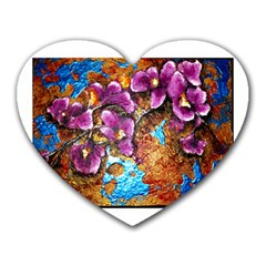 Fall Flowers No. 5 Heart Mousepads by timelessartoncanvas