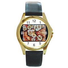 Fall Flowers No  6 Round Gold Metal Watches by timelessartoncanvas