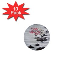 Mountains, Trees And Fog 1  Mini Buttons (10 Pack)  by timelessartoncanvas