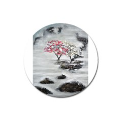 Mountains, Trees and Fog Magnet 3  (Round) by timelessartoncanvas